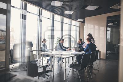 Poster Corporate Business Team und Manager in einem Meeting