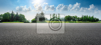 Poster Country asphalt road and green woods nature landscape in summer