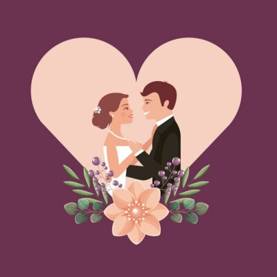 couple wedding day flowers in heart love