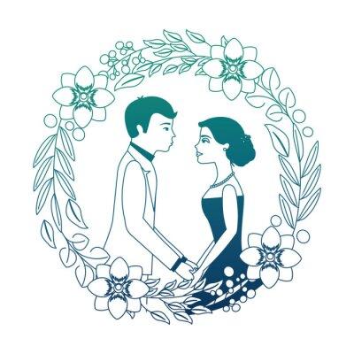 couple wedding day flowers in wreath flowers