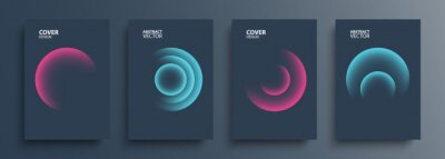 Poster Cover templates set with vibrant gradient round shapes. Futuristic abstract backgrounds with glossy sphere for your creative graphic design. Vector illustration.