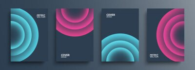 Poster Cover templates set with vibrant gradient round shapes. Futuristic abstract backgrounds with glossy sphere for your graphic design. Vector illustration.