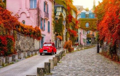 Poster Cozy street in quarter Montmartre in Paris, France. Architecture and landmarks of Paris. Postcard of Paris