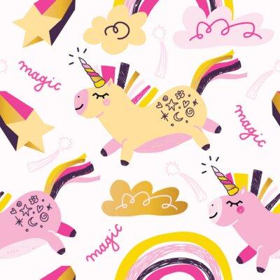 Creative childish seamless pattern with cute animals