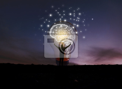 Poster creative idea.Concept of idea and innovation / night sky background / soft focus picture / Blue tone concept