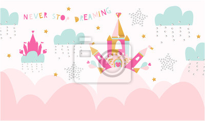 """Creative kids graphic illustration for print on the wall, class wall decoration and other. Sign """"NEVER STOP DREAMING""""."""