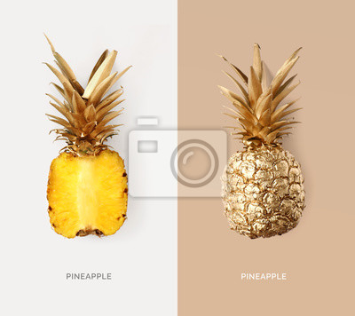Poster Creative layout made of gold pineapple.  Tropical flat lay. Food concept.