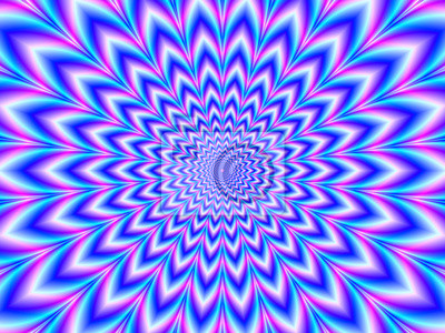 Poster Crinkle Cut Pulse in Blue Pink and Violet / A digital abstract fractal image with an optically challenging psychedelic design in blue, pink and violet,