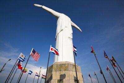 Poster Cristo del Rey Statue von Cali mit Flaggen der Welt und blauer Himmel, Col