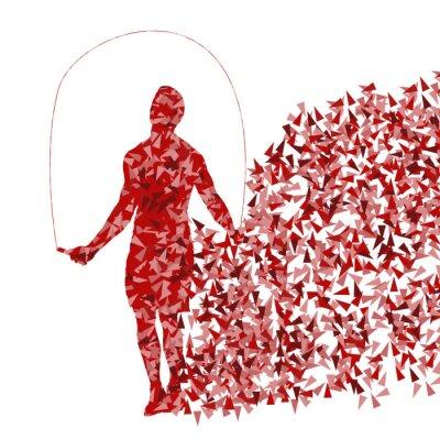 Poster Crossfit Mann Training mit springendem Seil Vektor Hintergrund