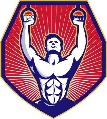 Poster Crossfit Training Athlet Ringe Retro