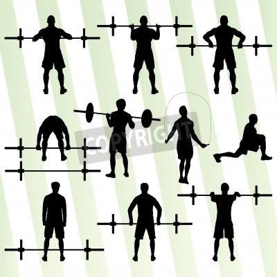 Poster Crossfit Training mit freien Gewichten Vektor Hintergrund Konzept für Plakat