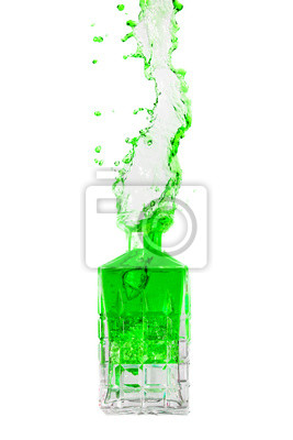 Crystal bottle with liquid splashing out on a white background