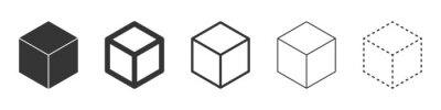 Poster Cube vector icons. Black Cube icons.