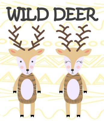 Poster Cute cartoon deer. Composition with folk art animals and floral decor elements. Hand drawn clip art. Scandinavian style
