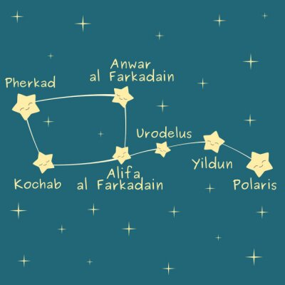 Poster Cute Cartoon wenig Dipper Konstellation mit dem Namen der Sterne Vektor-Illustration