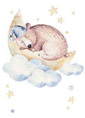 Poster Cute dreaming cartoon animal hand drawn watercolor illustration. Sleeping charecher kids nursery wear fashion design, baby shower invitation card.