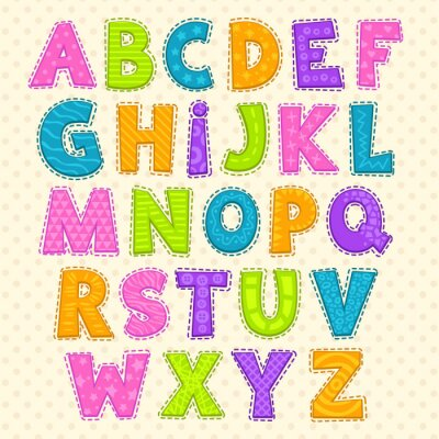 Poster Cute funny childish alphabet