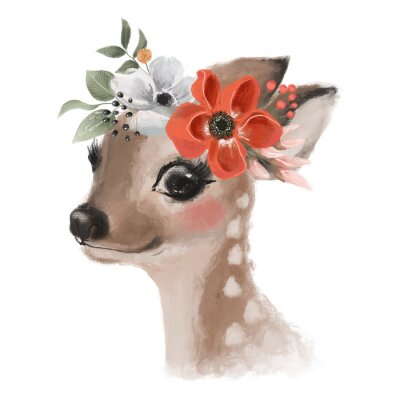 Poster Cute hand drawn deer, fawn in floral wreath, flowers bouquet, woodland watercolor animal portrait