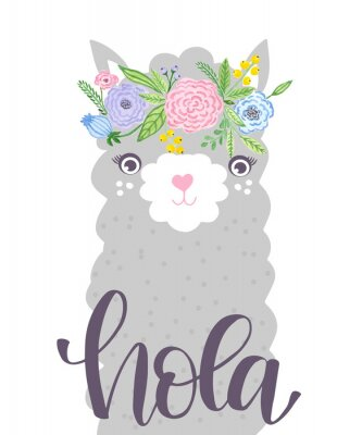 Poster Cute Lama face. Childish print for fabric, t-shirt, poster, card, baby shower.  Illustrtion