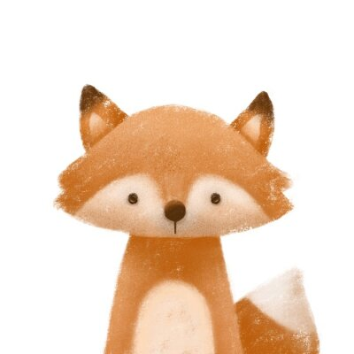 Poster Cute little fox. Kids print or poster. Hand drawn illustration.