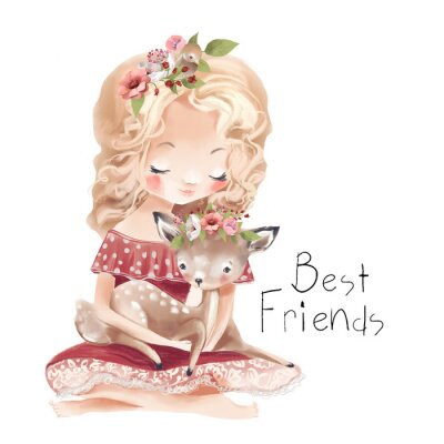 Poster Cute little girl with a deer, bird and flowers. Best friends watercolor illustration