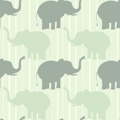 Poster Cute Pastel Elefanten nahtlose Vektor-Muster Hintergrund Illustration
