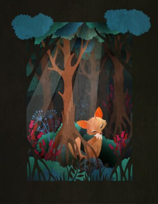Poster Cute red fox sitting in the forest fairytale illustration, greeting card or poster design