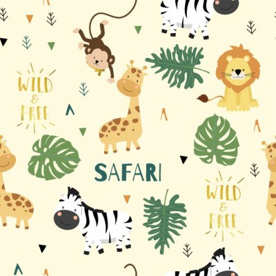 Poster Cute safari background with giraffe,zebra,lion,monkey,leaves.Vector illustration seamless pattern for background,wallpaper,frabic.include wording wild and free.Editable element