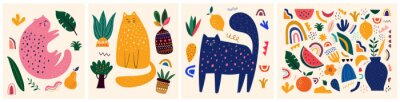 Poster Cute spring pattern collection with cat. Decorative abstract horizontal banner with colorful doodles. Hand-drawn modern illustrations with cats, flowers, abstract elements