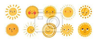 Poster Cute sun flat vector illustrations set. Yellow childish sunny emoticons collection. Smiling sun with sunbeams cartoon character isolated on white background. T shirt print design element.