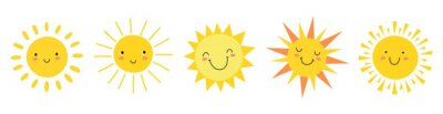 Poster Cute suns. Sunshine emoji, cute smiling faces. Summer sunlight emoticons and morning sunny weather. Isolated funny smileys vector icons. Sunshine and sunny emoji, yellow face emoticon illustration