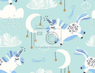 Cute trendy unicorn pattern for kids. Vector illustration. Modern style pattern template for fabric, wrapping, textile.