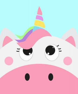 Poster cute unicorn face, vector illustration