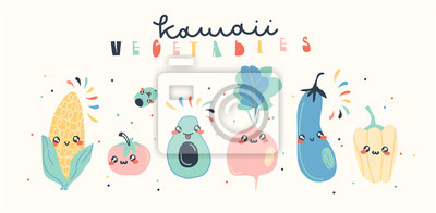 Cute vegetable collection. Vector illustration.