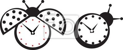 Poster Cute wall clock ladybird sticker.