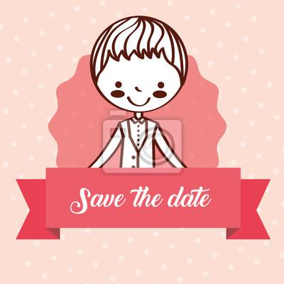 cute wedding groom girl romantic save the date vector illustration