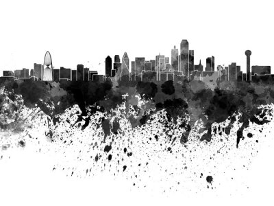 Dallas skyline in watercolor on white background