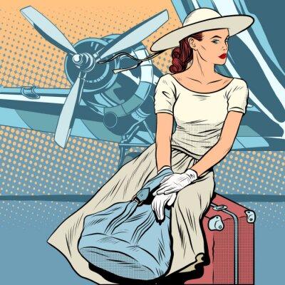 Poster Dame am Flughafen