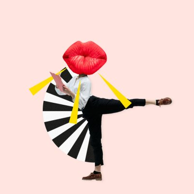 Poster Dancing office woman in classic suit like a ballet dancer headed by the big red female lips against trendy coral background. Negative space to insert your text. Modern design. Contemporary art collage
