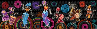 Poster Dancing people on Ethnic background with African motifs