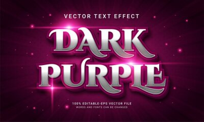 Poster Dark purple 3d text style effect themed purple color