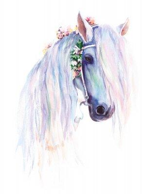 Poster Das blaue Pferd mit Blumen in der Mähne. Ursprüngliche Aquarellmalerei.