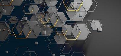Poster Datos en la nube y red.Concepto de ciencia y tecnología.Malla y formas geométricas