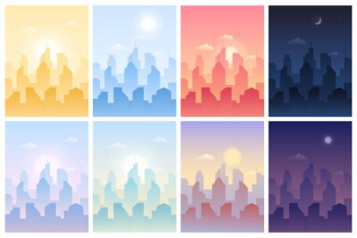 Poster Daytime cityscape with town building in different day time. Metropolis skyscraper architecture silhouette under sky with sun and moon, under sunlight and in dusk landscape vector illustration