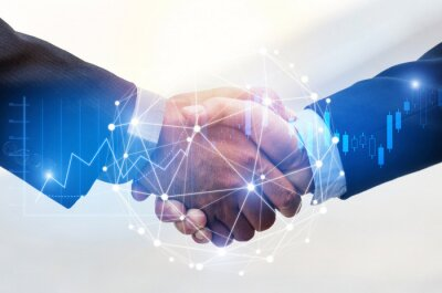 Poster Deal. business man shaking hands with effect global network link connection and graph chart of stock market graphic diagram, digital technology, internet communication, teamwork, partnership concept