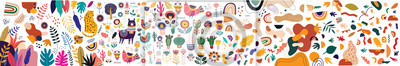 Poster Decorative abstract horizontal banner with colorful doodles. Hand-drawn modern illustration