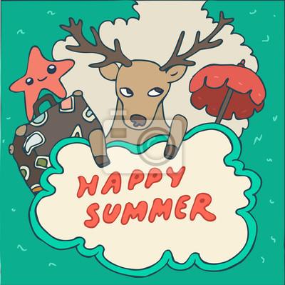 Deer Hipster in Urlaub, Vektor-Illustration, Hand gezeichnet