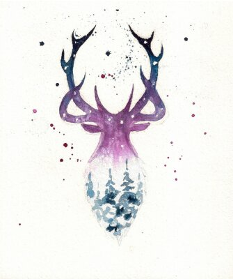 Poster Deers christmas illustration of watercolor. Greeting card.