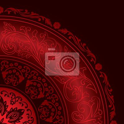Dekorative roten Rahmen mit Vintage-Runde Muster